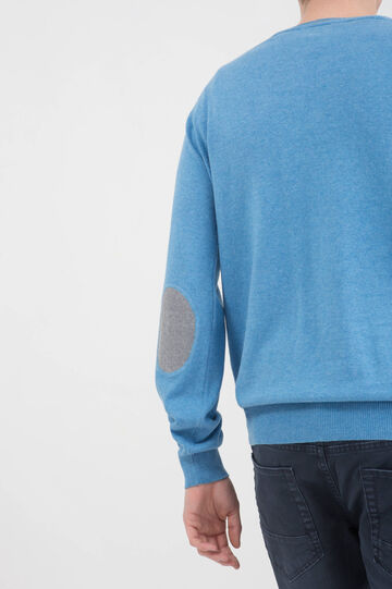 100% cotton pullover with patches, Soft Blue, hi-res