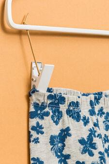 Stretch cotton patterned leggings, Grey Marl, hi-res
