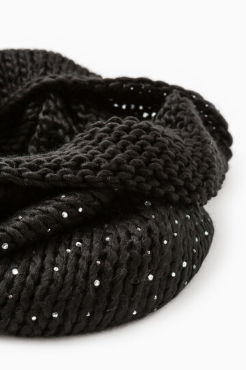 Knitted neck warmer with diamantés, Black, hi-res
