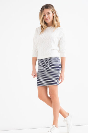 Teen striped patterned stretch skirt, White/Blue, hi-res