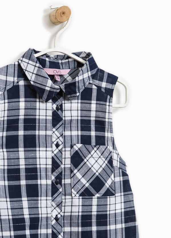Sleeveless cotton shirt with tartan pattern | OVS