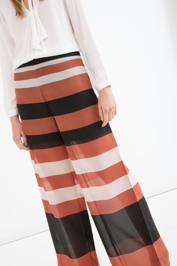 Wide leg trousers with striped print, Brown, hi-res