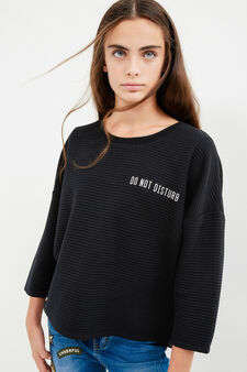 Teen cotton sweatshirt with printed lettering, Black, hi-res