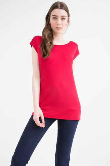 Solid colour 100% viscose T-shirt, Red, hi-res