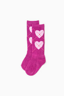 Two-pair pack solid colour and heart patterned socks, Purple, hi-res