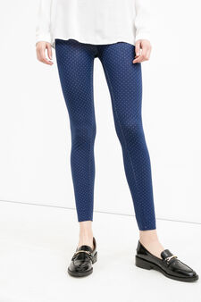 Stretch cotton leggings with all-over print, Blue, hi-res