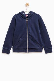 Solid colour 100% cotton sweatshirt, Blue, hi-res
