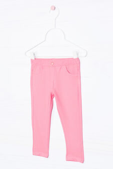 Solid colour stretch jeggings, Coral Pink, hi-res