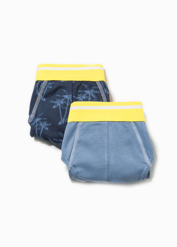 Two-pack solid colour and  palm tree patterned briefs | OVS