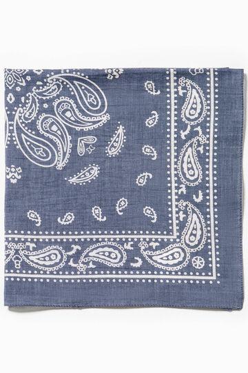 Cotton scarf with paisley print, Denim Blue, hi-res