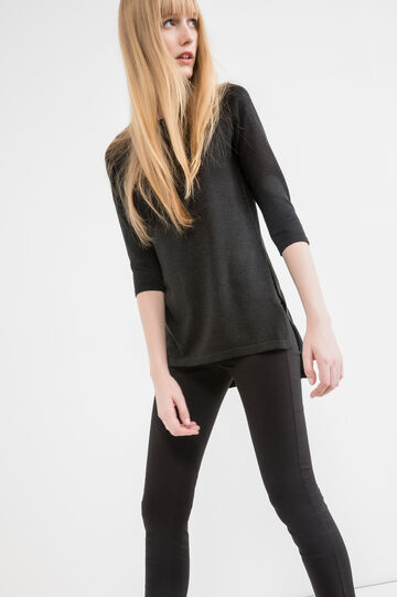 Pullover with three-quarter sleeves and splits, Black, hi-res