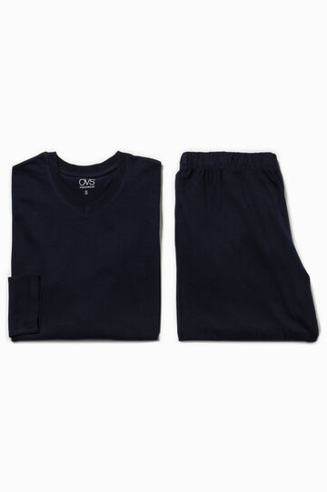 Solid colour 100% cotton pyjamas, Navy Blue, hi-res