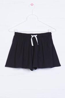 Cotton blend culottes, Black, hi-res