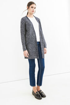 Long cardigan without buttons, Navy Blue, hi-res