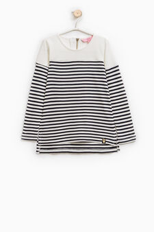 Striped, 100% viscose T-shirt, White/Blue, hi-res