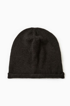 Beanie with turn-up, Black, hi-res
