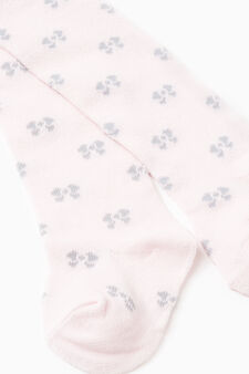 Cotton tights with bow pattern, Pink, hi-res