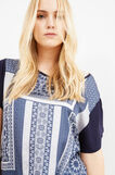 Curvy maxi print cotton T-shirt, Blue, hi-res