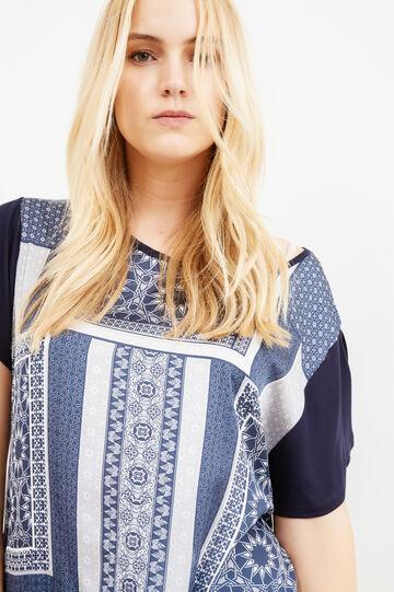T-shirt cotone maxi stampa Curvy, Blu, hi-res