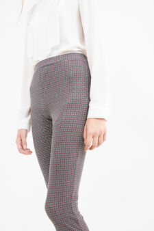 Stretch leggings with all-over print, Black, hi-res