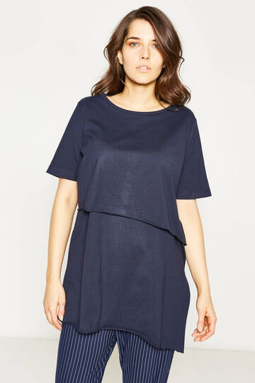 Curvy faux-layered stretch T-shirt, Navy Blue, hi-res