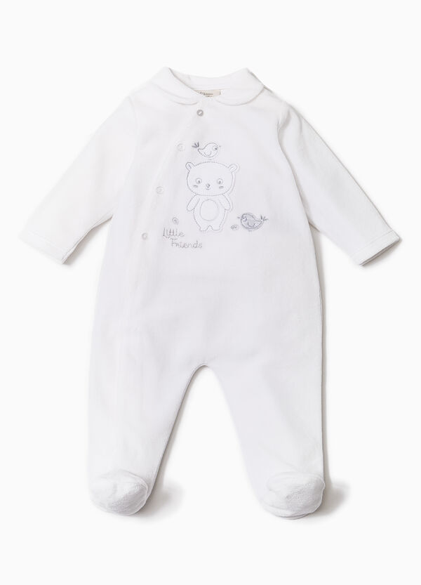 Solid colour onesie with feet | OVS