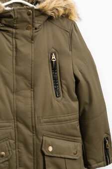 Parka with fur and zip cuffs, Army Green, hi-res