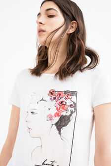 T-shirt viscosa stretch stampa e spacco, Bianco panna, hi-res
