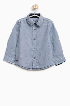Geometric print cotton shirt, Light Blue, hi-res