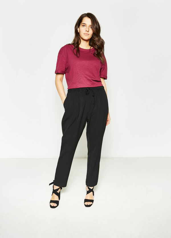 Curvy stretch trousers with drawstring | OVS