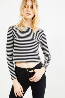 Stretch viscose T-shirt with striped pattern, Grey Marl, hi-res