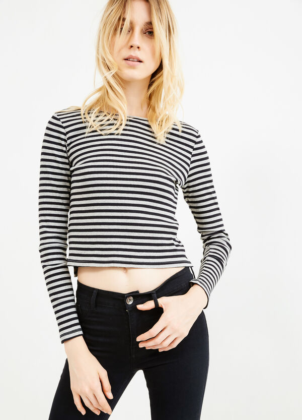 Stretch viscose T-shirt with striped pattern | OVS