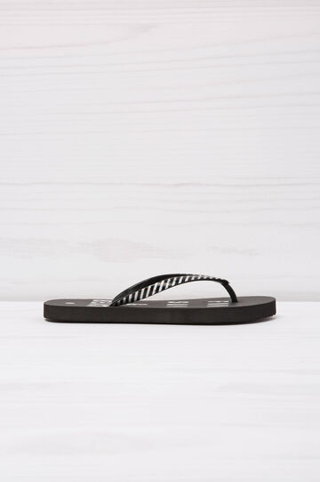 Printed thong sandals, Black/White, hi-res