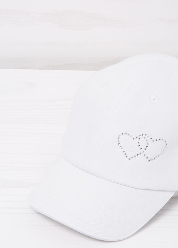 Cotton and diamanté baseball cap | OVS