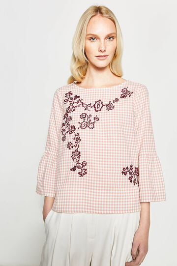 Check blouse with floral embroidery, White/Pink, hi-res