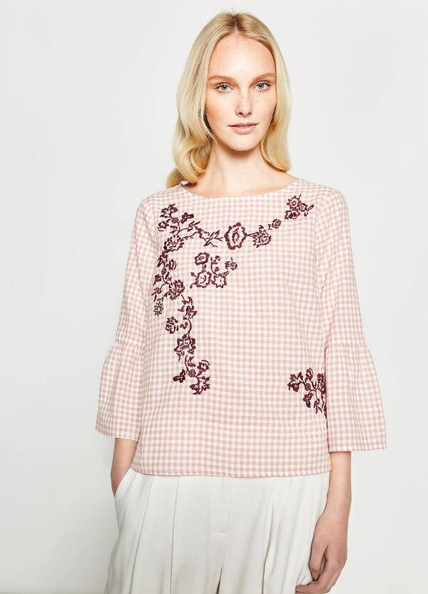 Blusa a quadri con ricami floreali | OVS