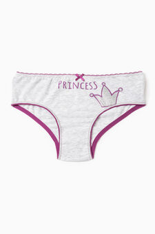 Stretch briefs with pattern and bow, Grey Marl, hi-res