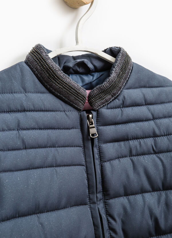Solid colour down jacket with beading   OVS