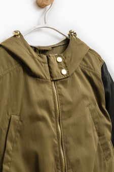 Cotton blend parka with elastic waist band, Army Green, hi-res