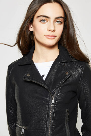 Teen jacket with zips on cuffs, Black, hi-res