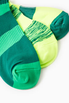 Three-pair pack striped OVS Active Sport Training socks, Neon Green, hi-res
