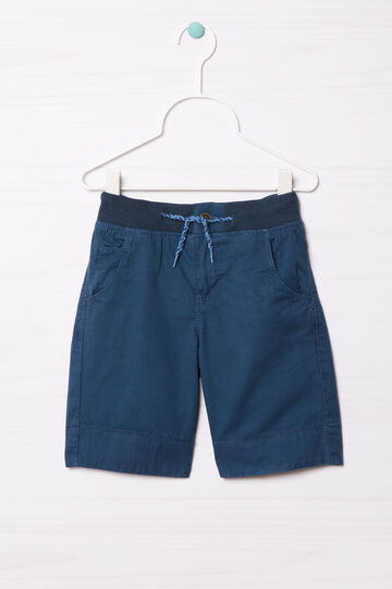 Pure cotton shorts with drawstring, Navy Blue, hi-res