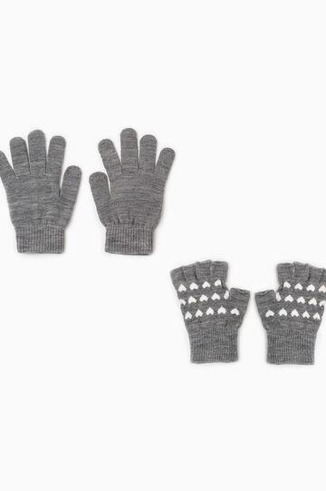 Set due paia di guanti fantasia cuori, Grigio melange, hi-res