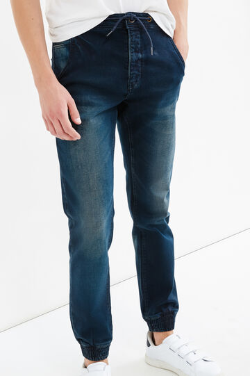 Loose-fit stretch jeans with drawstring, Dark Wash, hi-res