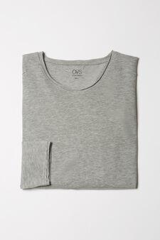 Stretch viscose blend pyjama top, Grey Marl, hi-res