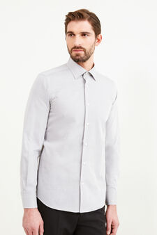 Slim-fit formal shirt with micro pattern, Grey, hi-res