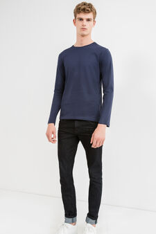 Long-sleeved 100% cotton T-shirt, Navy Blue, hi-res