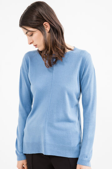 Solid colour knit pullover with slits, Sky Blue, hi-res