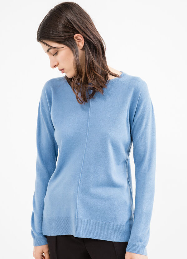 Solid colour knit pullover with slits   OVS