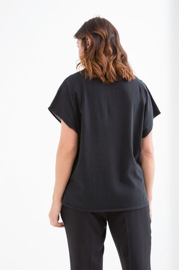 Curvy cotton and linen blouse, Black, hi-res